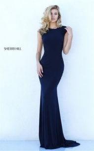 Navy 50763 Lace Appliques Cutout Fitted Long Gown By Sherri Hill Prom 2017