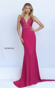 Princess Flare Sherri Hill 50813 Open Back Fitted Wine Jeweled Long Dress