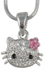 "$16.99 - Small Adorable 1/2"" Crystal Kitty Pendant and Necklace - Pink Flower Bow - Silver Plated"