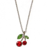 $9.99 - Cherry Necklace with Swarovski Crystals In Red with Silver Finish