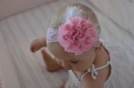 $12 - Pink Ruffled Flower Headband Bow