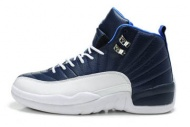 "Men's Nike Basketball Jordan 12 ""Obsidian"" White/Blue Leather Sneakers 71080"