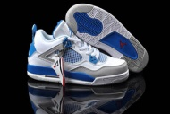 Women jordan 4 basketball shoes(white/military blue/ntrl grey) 16666