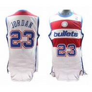 Bullets Michael Jordan 23 White Red Nike Jersey Blue 26314