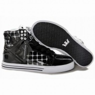 Supra Skytop High Tops Black White Men Leather Suede Footwear 26739