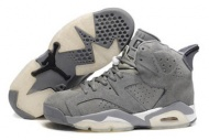 Men Air Jordan Retro 6 Suede Cool Grey/White Shoes 69533