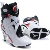 Air Jordan 8 High Heels White Red Black