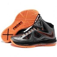 Nike Zoom Lebron 10 Shoes Black/Gray/Orange Sport