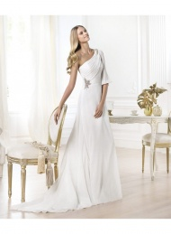 ne shoulder Sheath Ruching Crystal Court Train wedding Dresses