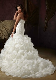 Diamante Beaded Net And Organza Wedding Dresses