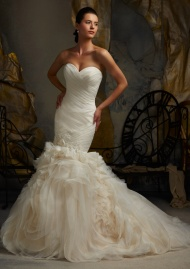 Embroidered Lace On Softly Sculptured Tulle Wedding Dresses