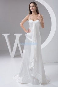 Sling Sweetheart Train Satin White Plus Size Evening Dress With Drape
