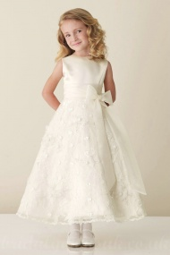 Satin Bateau A Line Bow Sash Inexpensive Perfect Flower Junior Bridesmaid Dress