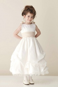 Satin Bateau A Line Tea Length Flower Trimed Back A Line Perfect Inexpensive Flower Dress