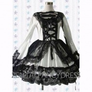 This White Long Sleeves Round Neck Black Lace Gothic Lolita Fancy Dress is a very hot item for its spacial design. The black lace on the white dress make this lolita dress sweet and sexy. The pure white and sexy black combines together. You're not gonna miss it.