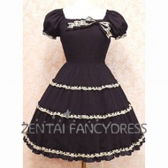 Every Girl deserves a beautiful lolita dress. Here we Provide various styles of lolita dress. This blue gothic lolita dress is simple-designed and decorated with a bow knot under the neck line. It's simple but uniqe and fantastic.The underskirt is included and customizaton is available.