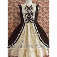 This Brown And White Sleeveess Gothic Lolita Dress is spical designed With three Bow Knots on the chest and multi Ruffles and flounces.The color and the design matches perfectly. The underskirt is included and customizaton is available.