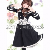 This long sleeves black cosplay lolita dress is decorated with white strips and ruffles.It features for the big bow knot on the waist helping to show you beautiful body line and highlight this charming part. Made of high quality Cotton, very comfortable to wear. If you need customize the lolita dress, please don't hesitate to tell us the detail size.