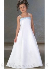 A Line Spaghetti Straps Floor Length Satin White Flower Girls Dress