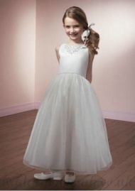 A Line Round Neck Knee Length Organza Flower White Girl Dress