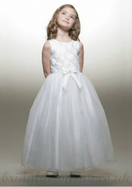 A Line Round Neck White Sash Tea Length Organza Flower Girls Dress