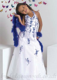 A line Halter White Blue Affordable Embroidery Satin Pageant Dress