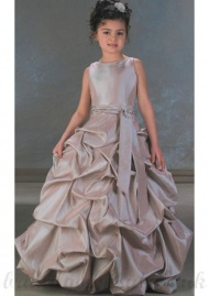 A Line Roud Neck Floor Length Grey Taffeta Flower girls Dress