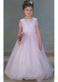 A Line Round Neck Floor Length White Flower Girls Dress