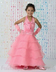 A line Halter Beading Organza Pink Cheapest Pageant Dress