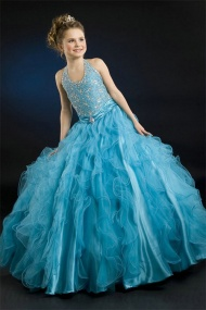 A line Halter Beading Ruched Waistband Blue Organza Girl Pageant Dress