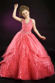 A line Halter Beading Ruched Waistband Tiered Skirt Red Organza Girl Pageant Dress