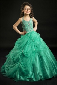 A line Halter Beading Bodice Green Soft Tulle Skirt Girl Pageant Dress