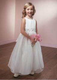 A Line Scoop Knee Length White Cheap Organza Flower Girl Dress