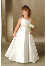 A Line Floor Length Skirt Beaded Neckline Spaghetti Straps Ivory And Satin Flower Girl Dresses