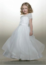 A Line Bateau Tea Length Organza White Best Flower Girl Dress
