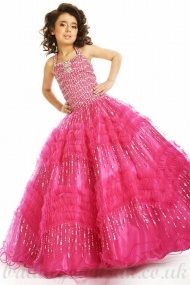 A line Halter Beading Tulle Satin Cheapest Girl Pageant Dress