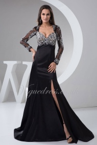 A Line Sweetheart Long Sleeve Keyhole Back Beading Brush Train Elastic Silk Like Satin Evening Dress