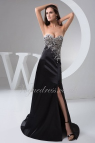 A Line Sweetheart Sleeveless Split Court Train Black Elastic Woven Satin Evening Dress