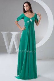 A Line Queen Anne Empire Zipper Ruching Floor Length Green Chiffon Evening Dress#