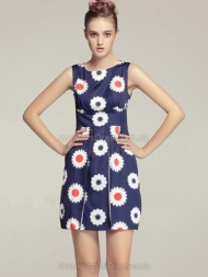 Blue Sleeveless Sakura Print Split Front Dress for HPL