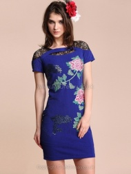 Blue Short Sleeve Insert Lace Sequined Flowers Embroidery Dress for HPL