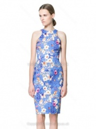 Blue Sleeveless Floral Bodycon Short Dress for HPL