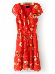 Red V-neck Belt Floral Chiffon Dress for HPL