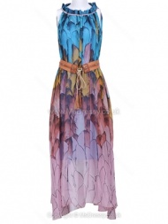 Blue Sleeveless Feather Print Belt Chiffon Dress for HPL