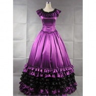This Cap Sleeves Round Neck Long Gothic Victirian Purple Satin Dress is made of first class satin,ensuring the feeling of soft and smooth when you put ot on. The narrow waist cutting helps to hightlight your sexy slender waist and the wide ruffles on the shoulder add sweetness to this fantastic dress.