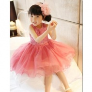 Girls sequins gauze lace dress in sunshine fashion girl's sequin vest dresses GQ-343