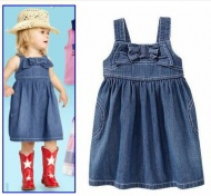 cowboy dress for baby girl sleeveless Denim dress for girls children with beautiful bowknot fit 1-5 years kids