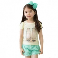 2colors summer Girls' suits girls cute lace sleeve T-shirt + Rose pants,children clothing